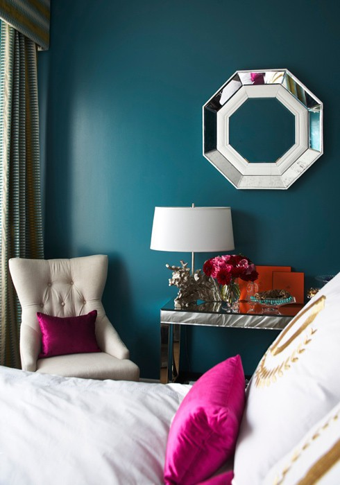 Adore Magazine - bedrooms - Benjamin Moore - North Sea Green - octagon, mirror, teal, peacock, blue, walls, mirrored, console table, ivory, tufted, chair, fuchsia, silk pillows, white, gold, monogram, bedding,