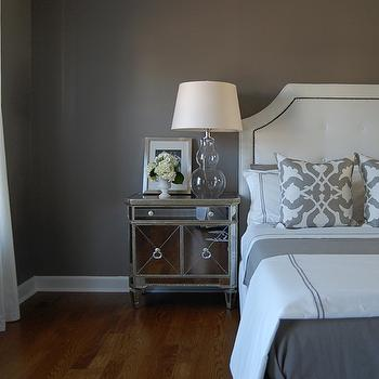 bedrooms - gray bedroom, gray paints, gray paint colors, gray bedroom paint, gray bedroom paint colors, gray walls, gray paint colors, gray bedrooms, gray walls, gray rooms, gray bedroom design, mirrored nightstand, gray paint, gray walls, grey walls, gray paint, grey paint, gray paint color, grey paint color, gray wall paint, grey wall paint, gray bedroom walls, grey bedroom walls, gray bedroom paint, grey bedroom paint, gray bedroom paint color, grey bedroom paint color, barbara barry pillows, barbara barry poetical, barbara barry poetical pillows, Etsy Woodyliana Barbara Barry Poetical Linen Pillow - Grey, Restoration Hardware Delano Upholstered Bed, Sandy Chapman Open Bottom Gourd Table Lamp in Clear Glass with Natural Paper Shade, Z Gallerie Borghese Mirrored Nightstands, Garnet Hill Eileen Fisher Washed Linen Bedding - Earthenware, Target Fieldcrest Luxury Hotel Duvet Set - Grey, Pottery Barn Textured Cotton Panel Drape, Target Fieldcrest Luxury Hotel Sheet Set - Grey,