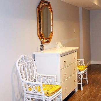 AM Dolce Vita - basements - Hollywood Regency Faux Bamboo Mirror and Chairs, faux bamboo mirror, bamboo mirror, gold faux bamboo mirror, gold bamboo mirror,