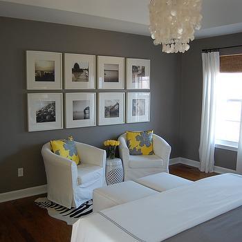 Yellow and Gray bedroom, Contemporary, bedroom, Benjamin Moore Galveston Gray