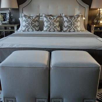 bedrooms - gray bedrooms, gray walls, gray rooms, gray bedroom design, linen ottoman, white ottomans, cube ottomans, greek key ottomans, greek key trim ottomans, studded ottomans, nailhead ottomans, Custom Ottoman with Silver Greek Key Trim, Restoration Hardware Delano Upholstered Bed, Etsy Woodyliana Barbara Barry Poetical Linen Pillow - Grey, Garnet Hill Eileen Fisher Washed Linen Bedding - Earthenware, Target Fieldcrest Luxury Hotel Duvet Set - Grey, Z Gallerie Borghese Nightstand, Ebay Zebra Cowhide Rug, Target Fieldcrest Luxury Hotel Sheet Set - Grey,