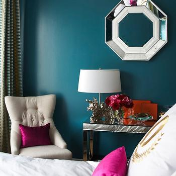 Adore Magazine - bedrooms: peacock blue walls, peacock blue bedroom walls, peacock blue paint, peacock blue paint colors, mirrored console table,