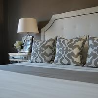 bedrooms - gray bedrooms, gray walls, gray rooms, gray bedroom design, gray paint colors, white tufted headboard, tufted headboard, nailhead headboard, Restoration Hardware Delano Upholstered Bed, Garnet Hill Eileen Fisher Washed Linen Bedding - Earthenware, Etsy Barbara Barry Poetical Linen Pillow - Grey, Target Fieldcrest Luxury Hotel Sheet Set - Grey, Sandy Chapman Open Bottom Gourd Table Lamp in Clear Glass with Natural Paper Shade, Z Gallerie Borghese Mirrored Nightstand, Pottery Barn Textured Cotton Panel Drape, Walmart Kenney CordFree Faux Jute Roman Shades - Wheat, Target Fieldcrest Luxury Hotel Sheets Duvet Set - Grey,