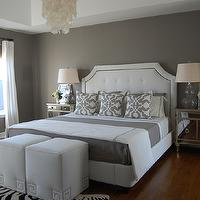 bedrooms - gray bedrooms, gray paint colors, gray bedroom paint colors, gray walls, gray paint, gray bedroom paint, gray bedroom walls, gray bedrooms, gray walls, gray rooms, tufted headboard, white tufted headboard, Greek Key Ottoman - White Linen, West Elm Capiz Chandelier, Etsy Woodyliana Barbara Barry Poetical Linen Pillow - Grey, Z Gallerie Borghese Mirrored Nightstand, Garnet Hill Eileen Fisher Washed Linen Bedding - Earthenware, Target Fieldcrest Luxury Hotel Duvet Set - Grey, Sandy Chapman Open Bottom Gourd Table Lamp, Walmart Kenney CordFree Faux Jute Roman Shades - Wheat, Pottery Barn Textured Cotton Panel Drape, Target Fieldcrest Luxury Hotel Sheet Set - Grey,