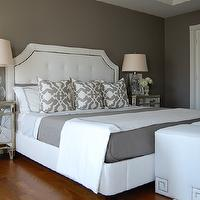 bedrooms - gray bedrooms, gray paint colors, gray paint, gray walls, gray bedroom paint, gray bedroom paint colors, gray bedroom, gray walls, gray rooms, gray bedroom design, Greek Key Cube Ottoman, Z Gallerie Borghese Mirrored Nightstand, Restoration Hardware Delano Upholstered Bed, DIY Bi-Fold Mirrored Doors, Garnet Hill Eileen Fisher Washed Linen Bedding - Earthenware, Target Fieldcrest Luxury Hotel Duvet Set - Grey, Etsy Woodyliana Barbara Barry Poetical Linen Pillow - Grey, Sandy Chapman Open Bottom Gourd Table Lamp, Target Fieldcrest Luxury Hotel Sheet Set - Grey,