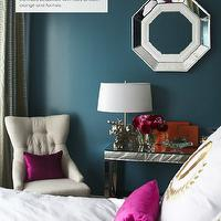 Adore Magazine - bedrooms - peacock blue walls, peacock blue bedroom walls, peacock blue paint, peacock blue paint colors, mirrored console table,