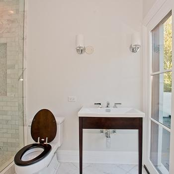 bathrooms - mahogany washstand, mahogany vanity, mahogany bathroom vanity,  Winnetka, Illinois  Gorgeous bathroom with a view...  Mahogany stained