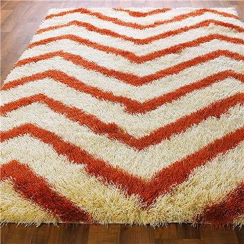Rugs - Chevron Stripe Shag Rug: 4 Colors - Shades of Light - chevron, stripe, shag, rug, red