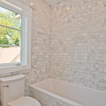 Calcutta Gold Marble Subway Tile, Transitional, bathroom
