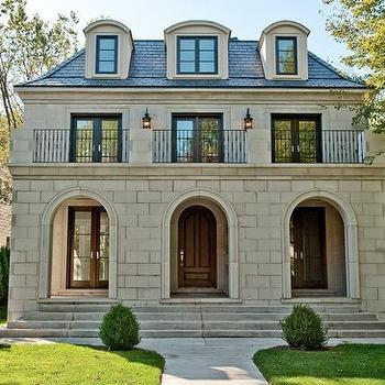 home exteriors - second empire home, limestone home exterior, french home exterior, juliet balcony,  Winnetka, Illinois  Beautiful French second