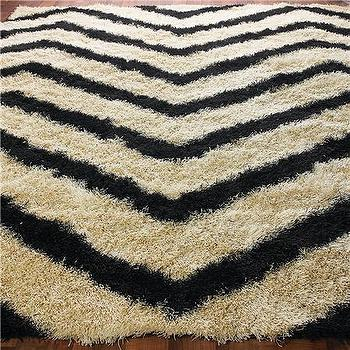 Rugs - Chevron Stripe Shag Rug: 4 Colors - Shades of Light - chevron, stripe, shag, rug, black
