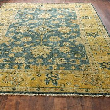 Rugs - Sapphire Blue, Gold and Sand Oushak Rug - Shades of Light - sapphire, blue, gold, sand, oushak, rug