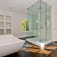 bathrooms - modern, freestanding, tub, coffee stained, wood floors, gray, walls, square, frameless glass shower, marble, subway tiles, backsplash, white, single, bathroom, vanity washstands, gray, walls,