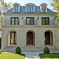 home exteriors - French, second empire, limestone, home exterior, juliet, balcony, arched, doors,  Winnetka, Illinois  Beautiful French second