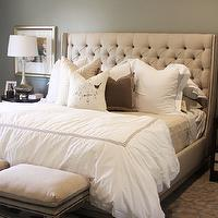 Alice Lane Home - bedrooms - tufted wingback headboard, gray tufted wingback headboard, tufted headboard, gray tufted headboard, wingback headboard, gray wingback headboard, , Horchow Vanguard Brea Bed, Duvall Ottoman, Regina Andrew Embossed Silver Vessel Table Lamp,