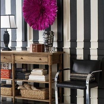 M House - entrances/foyers - striped walls, black and white striped walls, vertical striped walls, vertically striped walls, black and white vertical striped walls, fuchsia juju hat, brno flat bar chair, Knoll Flat Bar Brno Chair, Cameroon Tyn Juju Hat,