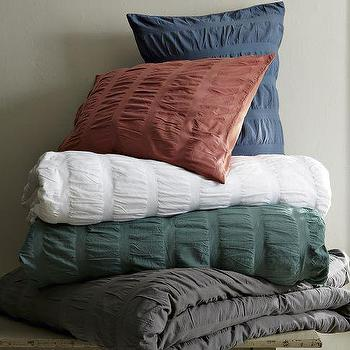 Seersucker Duvet + Shams, west elm
