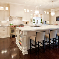 "M House - kitchens - white, shaker, kitchen cabinets, kitchen island, greige, walls, pot filler, topiaries, TV, sink in kitchen island, Robert Abbey Polished Nickel Glass Rod 22"" High Pendant, Benjamin Moore Cloud White, Mutina Ceramica Grigio Chiaro Tiles, Statuario Marble Countertops,"