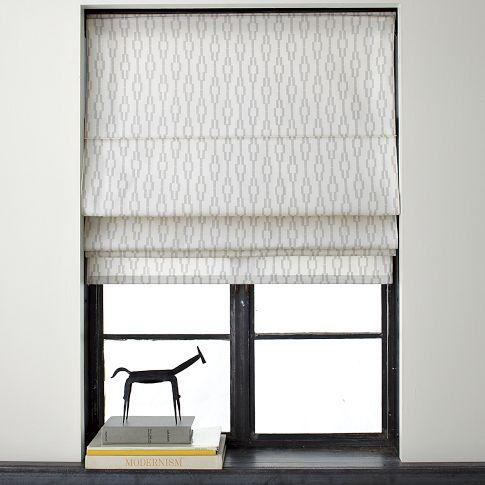 Links printed roman shade west elm for West elm window treatments