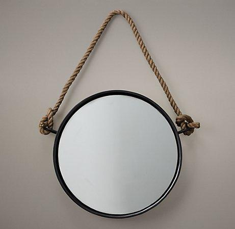 Iron and rope mirror mirrors restoration hardware baby for Restoration hardware round mirror