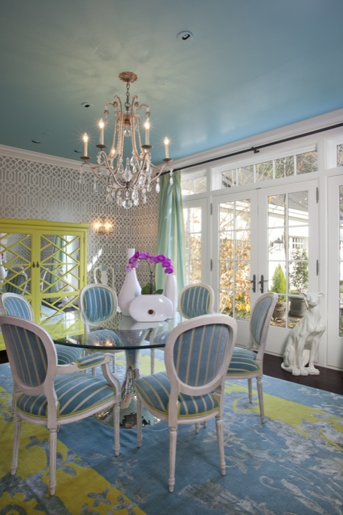 Turquoise walls eclectic dining room sherwin - Sherwin williams foothills interior ...