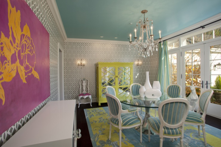 Turquoise Paint Color, Eclectic, dining room, Sherwin Williams Spa, Jacobson Interior Design