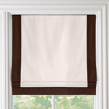 Window Treatments - Bordered Cotton Canvas Cordless Roman Shade | Roman Shades | Restoration Hardware Baby & Child - chocolate, bordered, cotton, canvas, cordless, roman shade