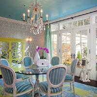 Jacobson Interior Design - dining rooms - blue ceilings, asian, armoire, stripes, drapes, jonathan adler, pink chairs, mirrored table, ceramic dog, crystal chandelier, turquoise walls, turquoise paint, turquoise paint color, turquoise room, turquoise blue walls, turquoise blue paint, turquoise blue paint color, turquoise blue room,