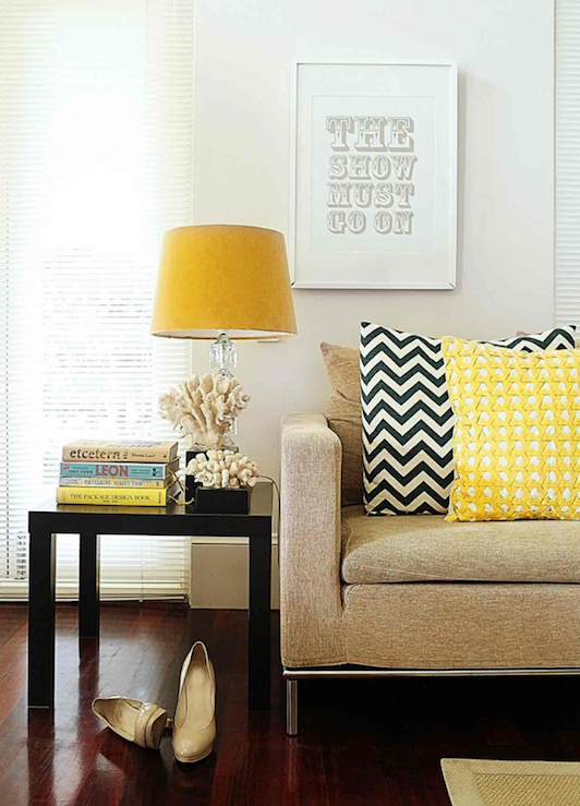 Blue and Yellow Living Room Pillows