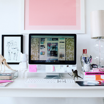 Peep My Style - dens/libraries/offices - white, campaign, desk, clear, glass, gourd, lamp, desk accessories, white desk, white x base desk, white lacquer desk,