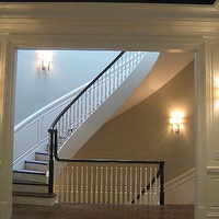 entrances/foyers - wainscoting, curved, staircase, gray, walls, ebony, stained, bannister,  Southport Corridor  Gorgeous curved staircase with