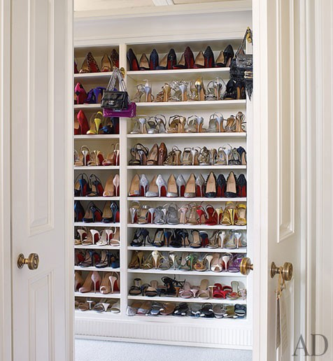 Architectural Digest: Michael S. Smith - Fierce! Lovely walk in closet housing shoes.
