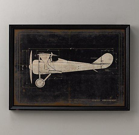 Art/Wall Decor - Model G Airplane Blueprint | Wall Art | Restoration Hardware Baby & Child - model, g, airplane, blueprint