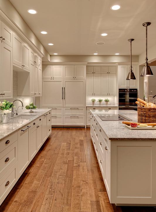 Kashmir White Granite Transitional Kitchen Benjamin Moore Stingray Studio 212 Interiors