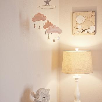 Kelli Murray - nurseries - clouds mobile, clouds nursery mobile, clouds crib mobile, gray nursery walls, Etsy The Butter Flying La petit Papillon Cloud Mobile in Peach, HomeGoods Lamp, Pottery Barn Sleep Sheep, Kelli Murray MAMA Bear BABY Bear Print,