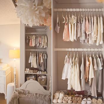Kelli Murray - nurseries - gray nursery, gray nursery design, gray nursery walls, nursery closet, open nursery closet, Etsy Pom+Love Poms, Layla Grace Matteo Tat Crib Set in Greige,