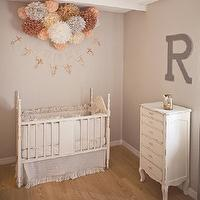 Kelli Murray - nurseries - gray, walls, vintage, craigslist, crib, HomeGoods Chest, Layla Grace Matteo Tat Crib Set in Greige, Etsy Grace Graffiti Wood Letter R, Etsy Pom+Love Poms, Etsy reraeshop Custom Crocheted Garland,