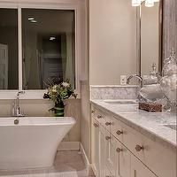 Shuffle Interiors - bathrooms - triple, sconces, cream, double bathroom cabinets, double sinks, marble, countertops, freestanding, tub,  Master