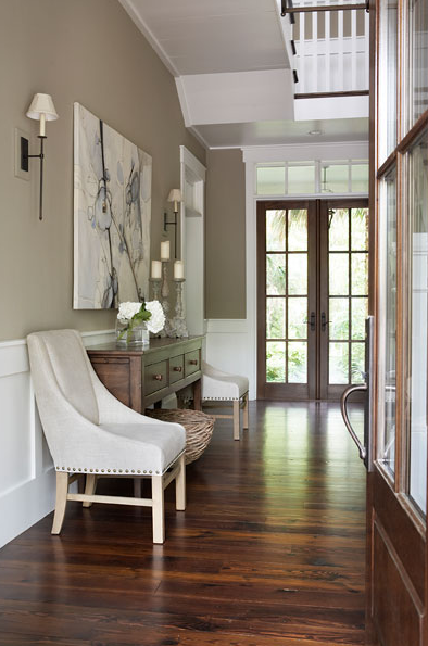 Linda McDougald Design - entrances/foyers - Restoration Hardware Nailhead Upholstered Chair, ivory, suede, nailhead trim, chairs, 3-drawer, wood, console, table, wall paneling, cafe au lait, walls, art, sconces, nailhead chair, upholstered chairs, foyer chairs, foyer, foyer wainscoting,