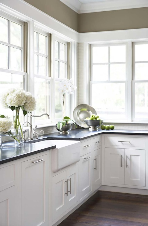 Linda McDougald Design - kitchens - khaki, walls, farmhouse, sink, white, shaker, kitchen cabinets, honed, black, granite, countertops, kitchen with no top cabinets, kitchen with no upper cabinets,