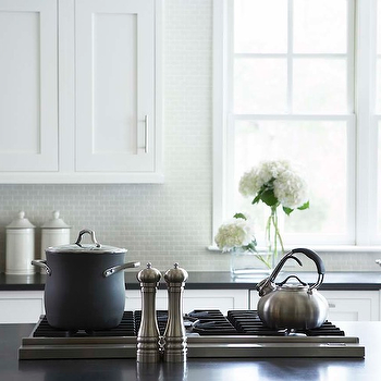 Linda McDougald Design - kitchens - white, shaker, kitchen cabinets, light gray, small, tiles, backsplash, farmhouse sink, honed, black, granite, countertops, cooktop, kitchen island, mini brick tiles, mini brick tile backsplash, mini brick tile kitchen backsplash,