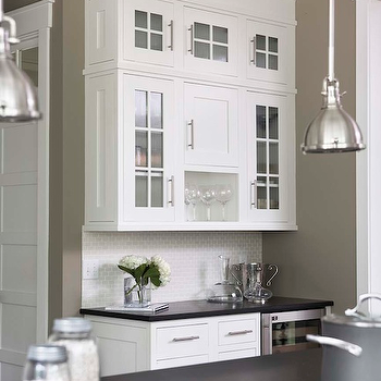 Linda McDougald Design - kitchens - honed, black, granite, countertops, khaki, walls, wine, fridge, white, glass-front, kitchen cabinets, industrial, yoke, pendants, mini yoke pendants,