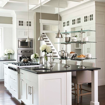 Linda McDougald Design - kitchens - coffered ceiling, honed, black, granite, countertops, white, kitchen island, cooktop, sink, kitchen island, khaki, walls, industrial, yoke, pendants, coffered ceiling, coffered kitchen ceiling, huge kitchen island,