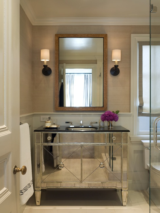 Benjamin Dhong - bathrooms - Borghese Mirrored Bathroom Vanity, oil-rubbed, bronze, sconces, sand, grasscloth, wallpaper, white, roman shade, black, trim, tortoise, shell, mirror, mirrored vanity, mirrored bathroom vanity,