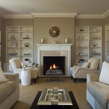 Benjamin Dhong - living rooms - cafe au lait, walls, ivory, velvet, chairs, zebra, modern, ottoman, sisal, rug, white, garden, stool, white, built-ins, small, gold, sunburst, mirror, zebra bench, zebra ottoman,