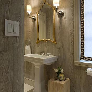 Benjamin Dhong - bathrooms - faux bois, wallpaper, gold, twigs, mirror, custom, white, roman shade, white, black, Greek key, trim, polished nickel, sconces, faux bois wallpaper,