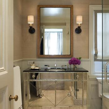 Benjamin Dhong - bathrooms - oil-rubbed, bronze, sconces, sand, grasscloth, wallpaper, white, roman shade, black, trim, tortoise, shell, mirror, mirrored vanity, mirrored bathroom vanity,