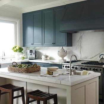 Navy KItchen Cabinets, Contemporary, kitchen, Benjamin Moore Temptation, Benjamin Dhong