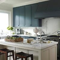 Benjamin Dhong - kitchens - two-tone, kitchen, blue, shaker, kitchen cabinets, ivory, kitchen island, marble, countertops, backsplash, small, sink, kitchen island, farmhouse sink,