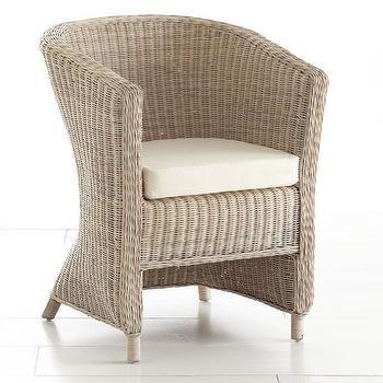 Wicker Arm Chair, Whitewash, Chairs, Wisteria